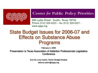 State Budget Issues for 2006-07 and Effects on Substance Abuse Programs
