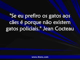 """""""Se eu prefiro os gatos aos cães é porque não existem gatos policiais."""" Jean Cocteau"""