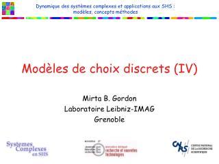 Modèles de choix discrets (IV)