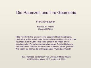 Die Raumzeit und ihre Geometrie