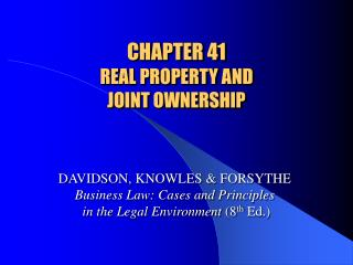 CHAPTER 41 REAL PROPERTY AND  JOINT OWNERSHIP