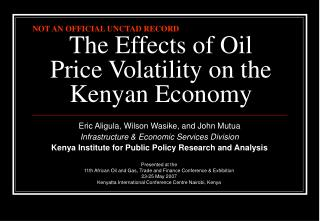 The Effects of Oil Price Volatility on the Kenyan Economy