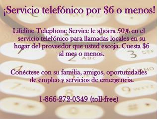 ¡ Servicio telefónico por $6 o menos!