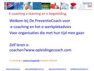 E-coaching e-learning en e-begeleiding.