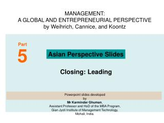 MANAGEMENT:  A GLOBAL AND ENTREPRENEURIAL PERSPECTIVE   by Weihrich, Cannice, and Koontz