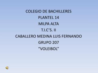 COLEGIO DE BACHILLERES PLANTEL 14 MILPA ALTA T.I.C'S. II CABALLERO MEDINA LUIS FERNANDO GRUPO 207