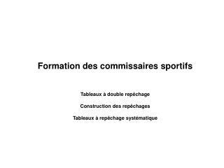 Formation des commissaires sportifs Tableaux à double repêchage Construction des repêchages