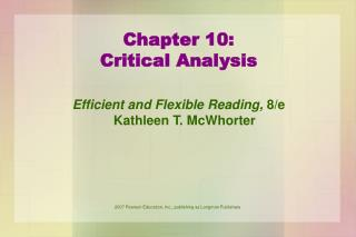 Chapter 10: Critical Analysis
