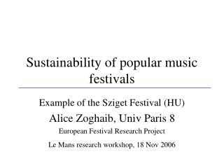 Sustainability of popular music festivals