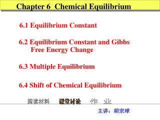Chapter 6  Chemical Equilibrium