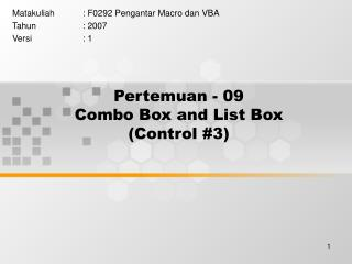 Pertemuan - 09 Combo Box and List Box (Control #3)