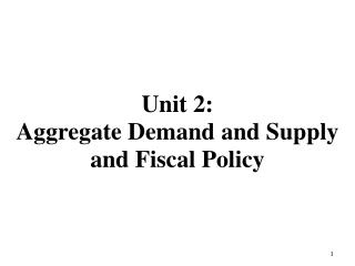 Unit  2: Aggregate Demand and Supply and Fiscal Policy