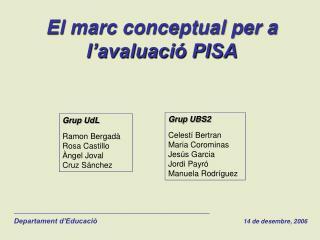El marc conceptual per a l'avaluació PISA