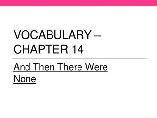 Vocabulary – Chapter 14