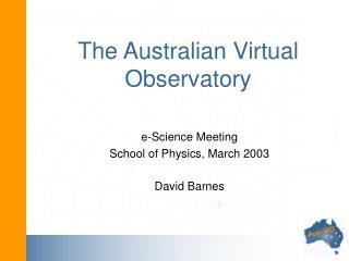 The Australian Virtual Observatory
