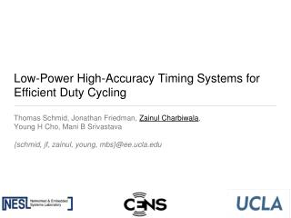 Low-Power High-Accuracy Timing Systems for Efficient Duty Cycling