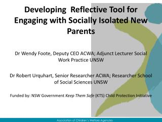 Developing  Reflective Tool for Engaging with Socially Isolated New Parents