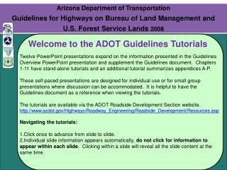 Arizona Department of Transportation Guidelines for Highways on Bureau of Land Management and