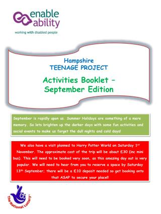 Hampshire  TEENAGE PROJECT Activities Booklet –  September Edition