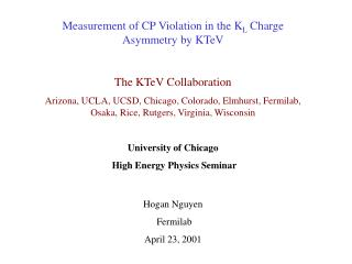 Measurement of CP Violation in the K L  Charge Asymmetry by KTeV The KTeV Collaboration