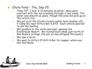 Chute Pond – Thu, Sep 25