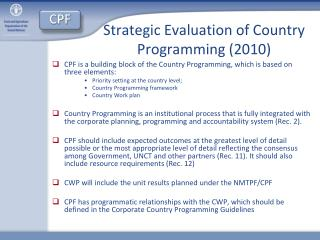 Strategic Evaluation of Country Programming (2010)