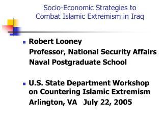 Socio-Economic Strategies to  Combat Islamic Extremism in Iraq