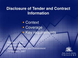 Disclosure of Tender and Contract Information