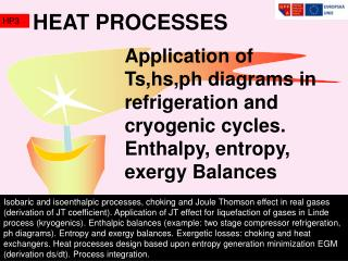 Application of Ts,hs,ph diagrams in refrigeration and cryogenic cycles. Enthalpy, entropy, exergy Balances