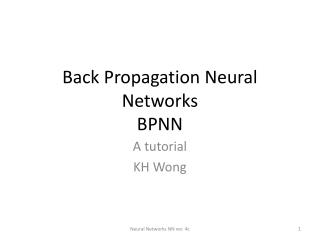 Back Propagation Neural Networks BPNN