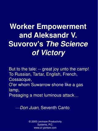 Worker Empowerment and Aleksandr V. Suvorovs The Science of Victory