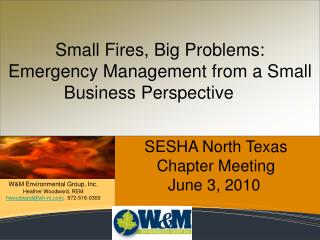 Small Fires, Big Problems: Emergency Management from a Small Business Perspective