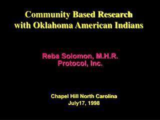 Community Based Research with Oklahoma American Indians