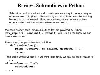 Review: Subroutines in Python