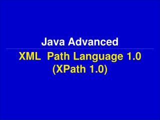 XML  Path Language  1.0 (XPath 1.0)