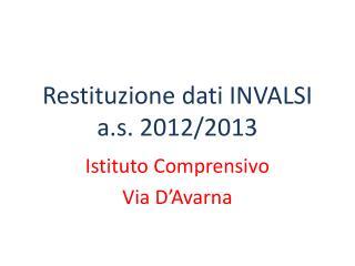 Restituzione dati INVALSI  a.s.  2012/2013