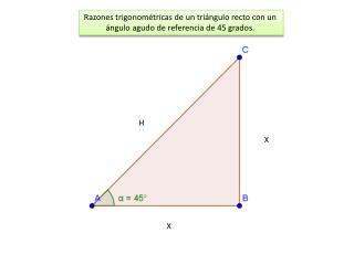 Razones trigonométricas de un triángulo recto con un  ángulo agudo de referencia de 45 grados.