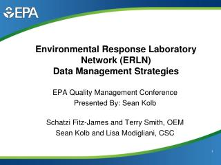 Environmental Response Laboratory Network ERLN Data Management Strategies
