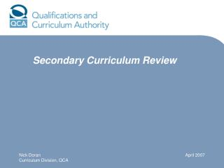 Secondary Curriculum Review