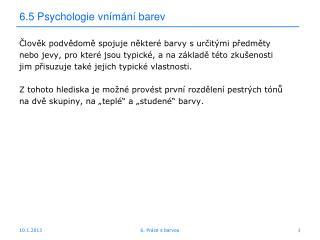 6.5 Psychologie vn�m�n� barev
