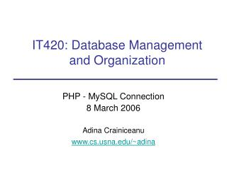 IT420: Database Management and Organization