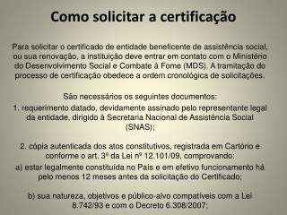 Como solicitar a certificação
