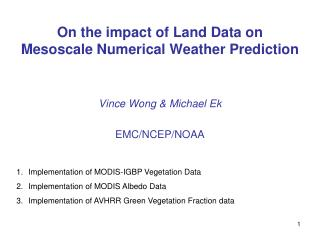 On the impact of Land Data on Mesoscale Numerical Weather Prediction