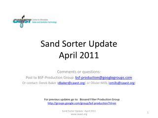 Sand Sorter Update   April 2011