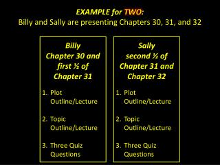 EXAMPLE for  TWO : Billy and Sally are presenting Chapters 30, 31, and 32
