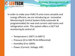Remote Management of Refrigeration Systems