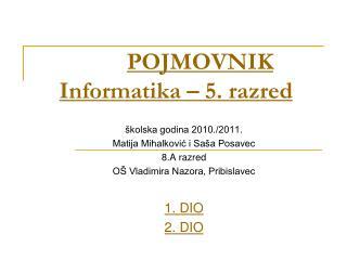 POJMOVNIK Informatika – 5. razred