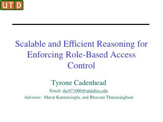 Scalable and E?cient Reasoning for Enforcing Role-Based Access Control