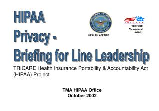 TRICARE Health Insurance Portability  Accountability Act HIPAA Project