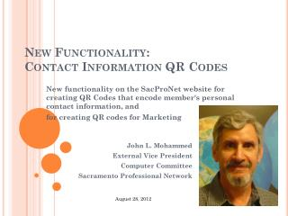 New Functionality: Contact Information QR Codes